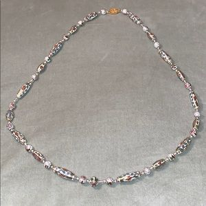 Vintage Cloisonné Hand Knotted Necklace White Gold